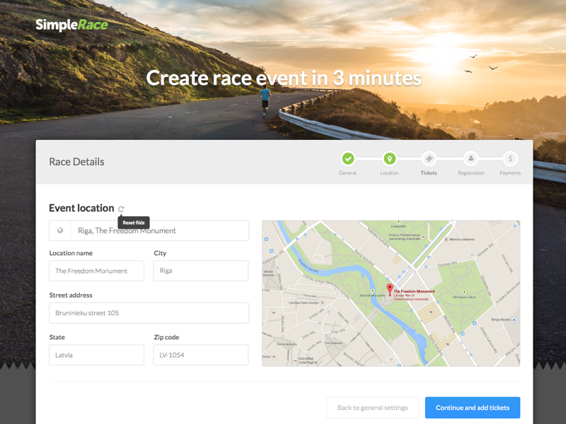 WIP UI for Simple race event builder! map wizard application builder app clean web ui