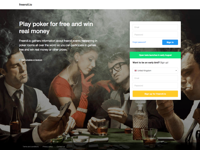 Simple landing page for freeroll.io poker landing website web web page landing page ui