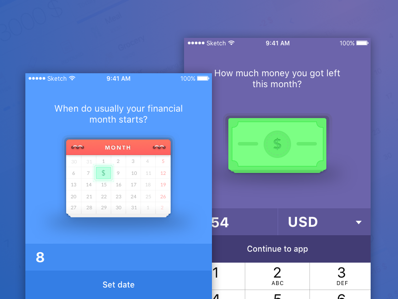 On-boarding for personal finance app dollar bill illustration onboarding money calendar application app design ios ui