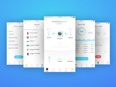 App design for Mesh Wi-Fi System user intervace ui internet speed dashboard application ios app