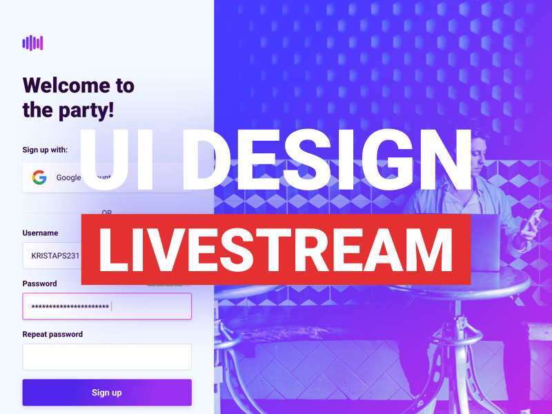 My first livestream 🎉 clean ux live riga app design website application latvia web ui