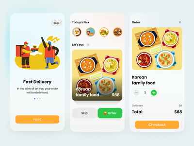 Food Delivery - Ui Design app design product design ios app design ios uidesign food vector mobile ui delivery app figma illustration uiux design app