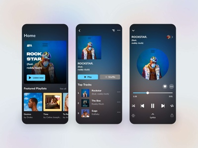 Music App - UI/UX Design product design playlist music player music app uiux branding dark mode figma typography illustration design app