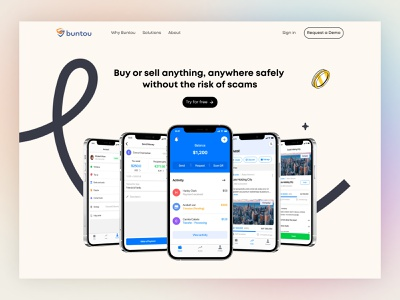 Buntou Landing Page branding illustration uiux vector flat design web design buntou investment banking minimalist landing page hero header website