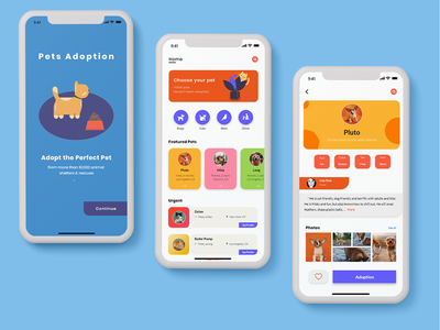 Pets Adoption new ui design ui ux design illustration app design adoption pet care pets