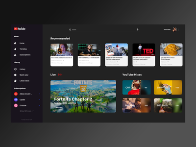 Youtube Redesign design redesign web design uiux dark theme dark mode youtube