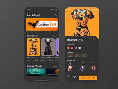Halloween E-commerce ux pumpkins halloween flyer uiux uxdesign new illustration dark mode ui app ecommerce halloween design halloween party