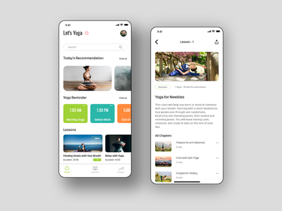 Let's Yoga 🧘‍♀️ design ux ui course yoga concept app