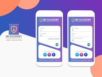 Log In/ Sign Up Mobile Interface IMI ACADEMY