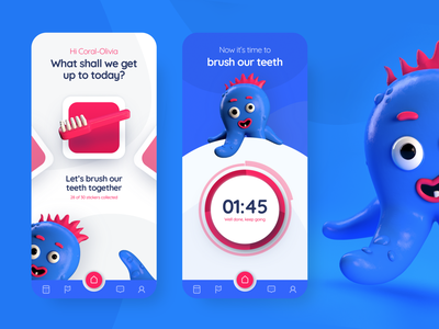 Daily UI - Little Monsters Helper illustraion website design website web modeling render app design daily ui dailyui app cinema4d sketch ux ui mobile graphic design design clean