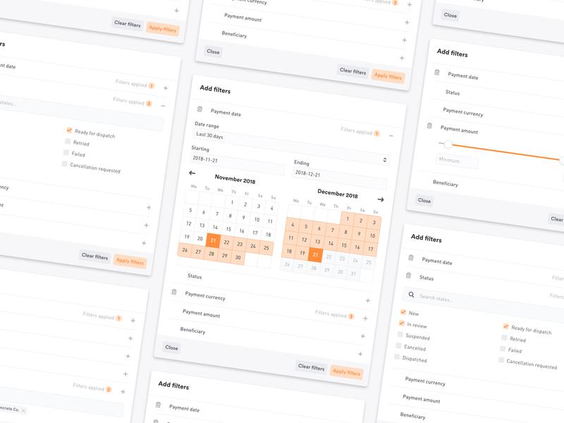 Filter UI search date selector date range date picker checkbox filtering finance web clean ux card modal app slider calendar filters ui