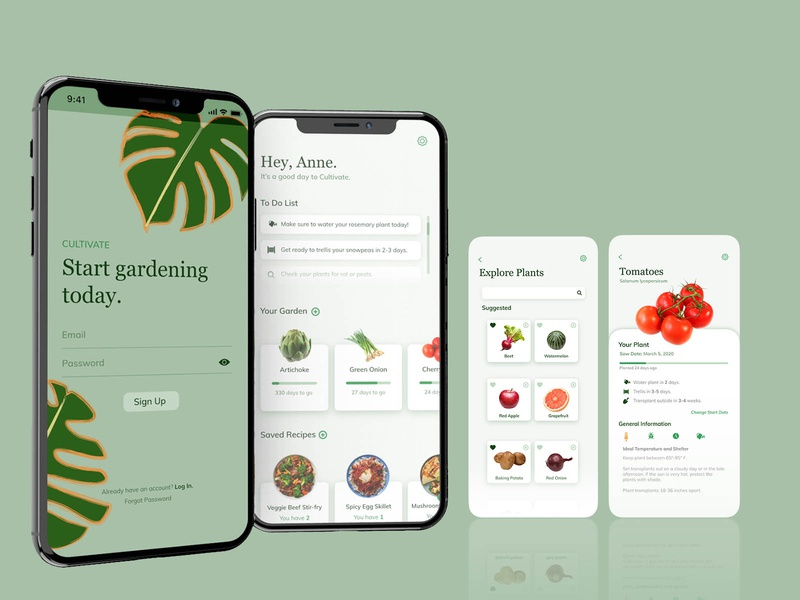 Cultivate Gardening App mobile gardening app interface ui