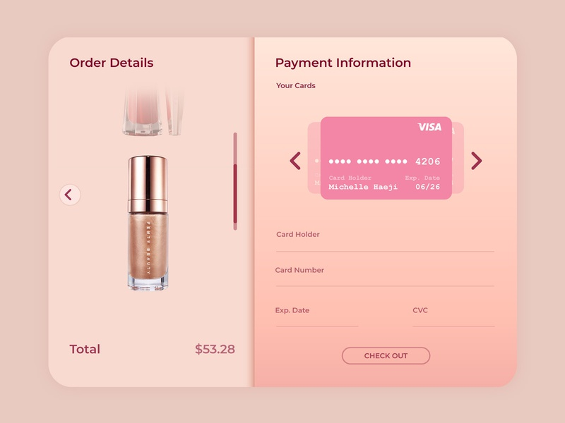 Daily UI 002: Credit Card Info makeup ui dailyuichallenge interface checkout credit card dailyui