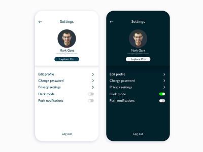 Daily UI 007: Settings mobile dark mode ui ios interface settings dailyuichallenge dailyui 007 dailyui