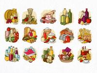 Italian food illustrations. seafood fish ham water wine sausage parma olive cheese oil pasta food italian vector icon illustration design