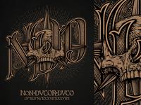 Non Ducor Duco tattoo print initials roman bones skull lettering typography illustration design