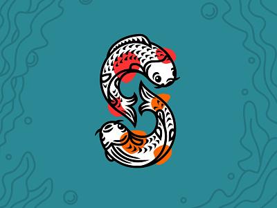 S Koi Fish carp koi fish fish koi initial monogram logotype logo identity typography branding icon illustration design