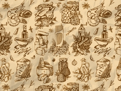Italian food pattern powder truffle pasta pepper balsamic salami fish meat cheese olive spice ink italian food pattern illustration icon design
