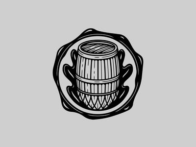 Oak barrel stamp logo