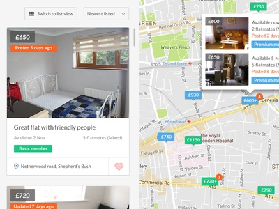 Map search for roommates website