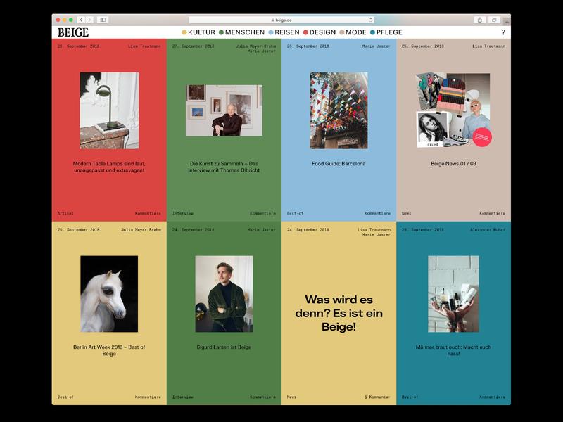 Beige homepage cards web design beige