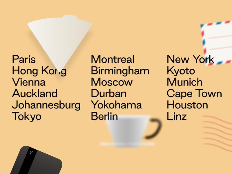Coffee community WIP illustration graphic design world tour skeumorphism coffee