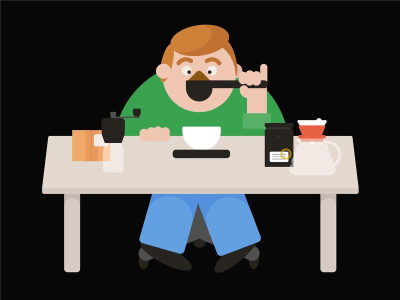 Doug Making Filter Coffee man vector hario v60 coffee illustration