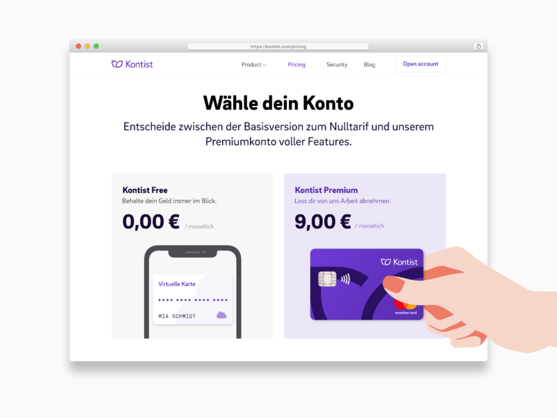 Kontist Premium Plan illustration ui web design banking kontist