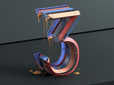 Number 3 for 36daysoftype 2017 type design 3d type 3d numbers architecture design typography typo