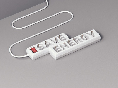 Save Energy Typo Work type design 3d type 3d motivation electronic design typography typo