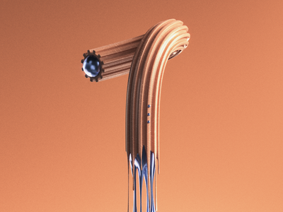 Drippimats Number 1 type design artwork 36days-1 36daysoftype type daily art type art 3d typography 3d typo dripping drips orange color design 3d lettering typography typo numbers