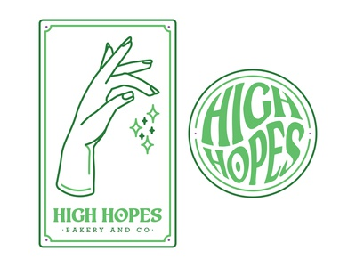 High Hopes Bakery & Co. Logo and Identity Mark baking bakery marijuana weed magic voodoo crystal ball tarot card tarot simple illustrator branding logo