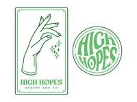High Hopes Bakery & Co. Logo and Identity Mark baking bakery marijuana weed magic voodoo crystal ball tarot card tarot simple illustrator branding logo