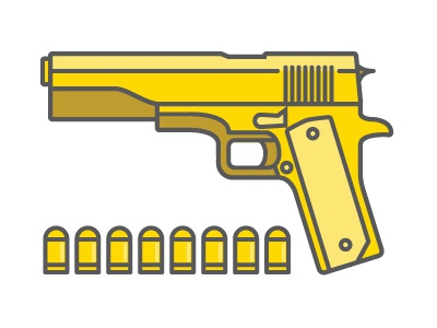 Colt .45 guns gold bullets illustration thick lines simple icon
