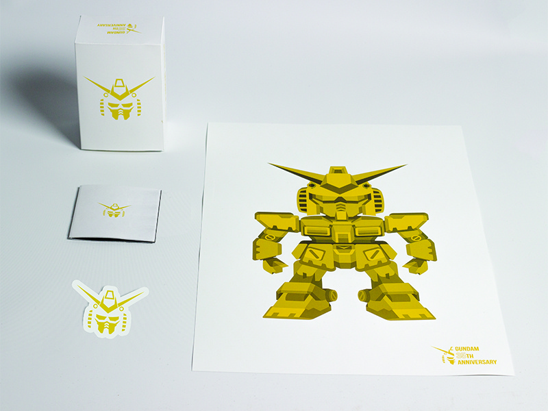 Mobile Suit Gundam 35th Anniversary poster gundam packaging design limited edition illustrator robot gold elegant simple sticker