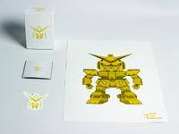 Mobile Suit Gundam 35th Anniversary poster gundam packaging design limited edition illustrator robot gold elegant simple sticker