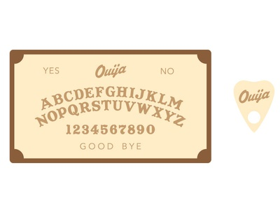 Ouija Board ouija spooky paranormal creepy scary horror simple illustrator wood