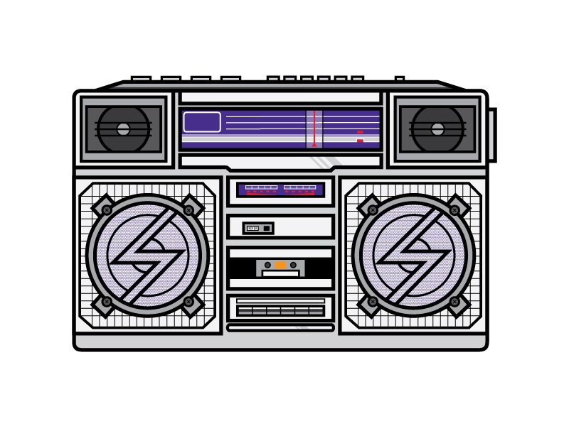 Boombox cassette illustrator old school hiphop vintage retro radio boombox