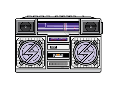 Boombox cassette illustrator old school hiphop vintage retro radio boombox