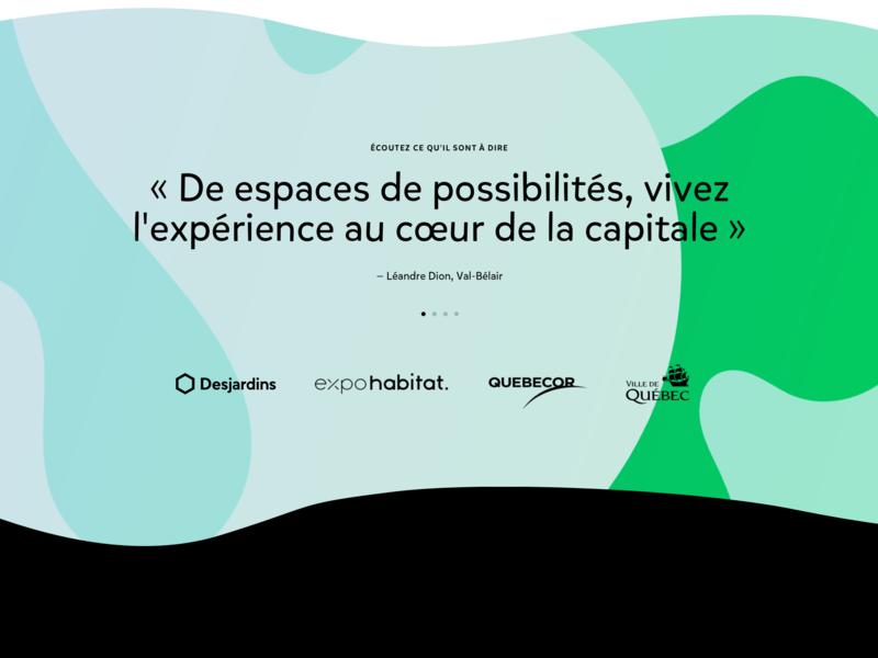 Expériences 2 green teal blue ux redesign website ui sigmund quebec design