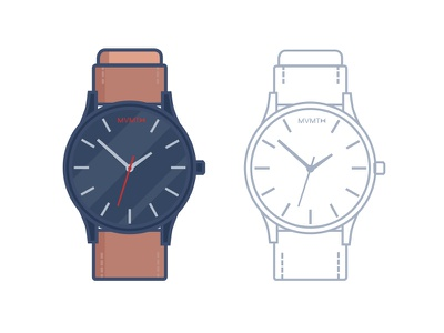 Watch Illustration. brand movement mvmt minutes seconds strap hands leather vector time watch