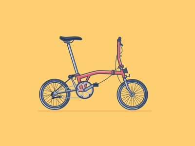 Brompton. folding vector illustration transport wheels bar handle cyclist cycle bike bicycle brompton