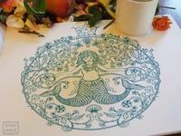 Mermaid Dream Coloring Linework