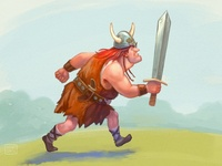 Viking character ready to fight