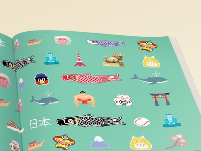 Walk Trail in Japan Endpapers totoro cat fuji baseball boat cherry blossom buddha monkey kite lion whale koifish endpapers book cover drawing emoji set japanese