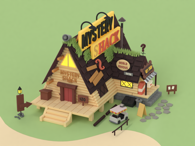 The Mystery Shack game design game building lowpoly isometric game c4d 3d design render redshift 3d illustration 3d model mystery shack gravity falls cinema 4d 3d illustration