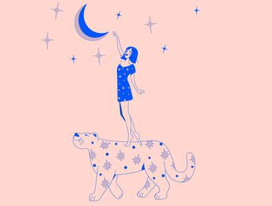 #dtiys challenge )) vector art stars sky pattern moon art minimal kitty illustration dream design character cat girl illustration 2d