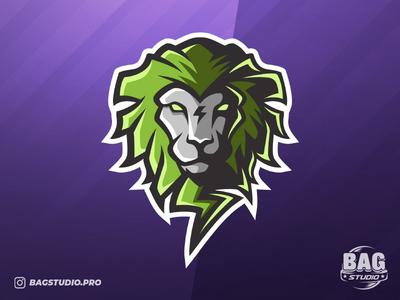 Bolt Lion Logo gamer sports logo emblem green illustration esportlogo esports mascot lion logo