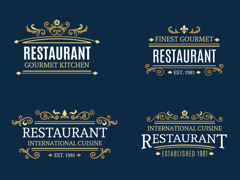 Retro Ornamental Restaurant Logo Collection freepik luxury restaurant premium golden elegant classic ornamental vintage retro