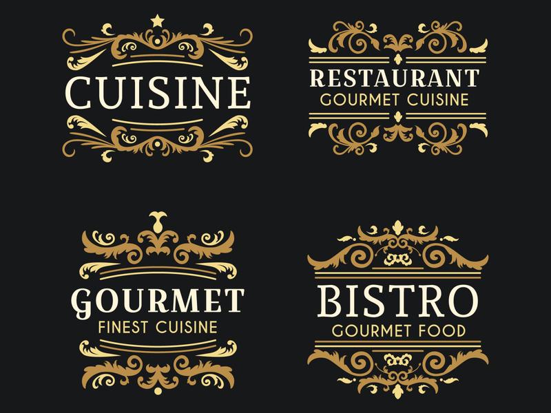Retro Luxury Ornamental Restaurant Logo Collection freepik retro logo premium floral golden restaurant ornamental luxury vintage elegant